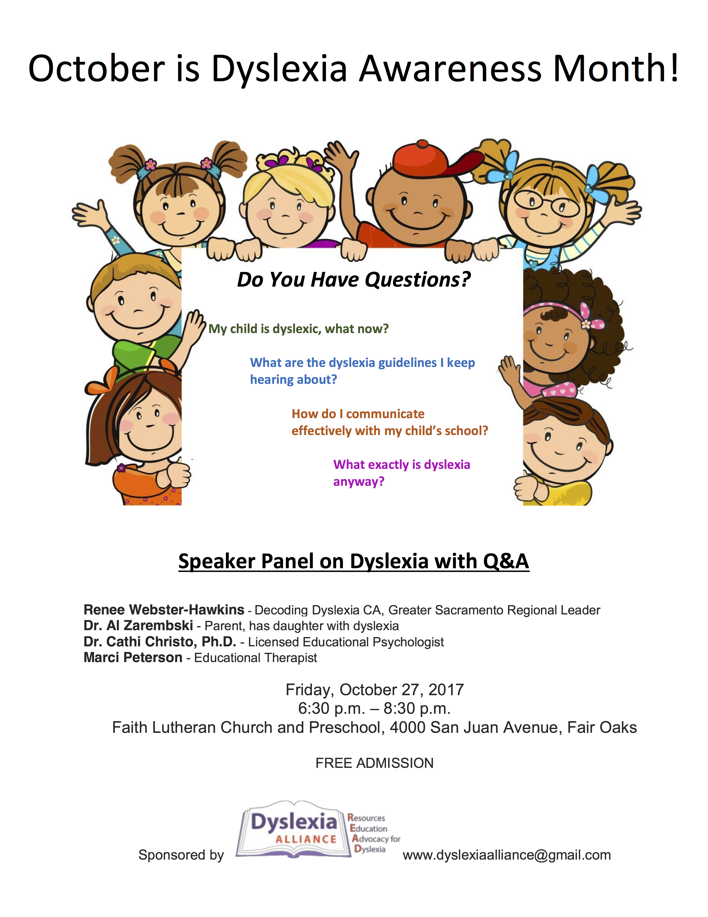Speaker Panel on Dyslexia with Q&A @ Faith Lutheran Church and Preschool | Fair Oaks | California | United States